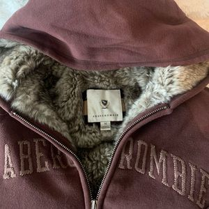 Abercrombie & Fitch Fur lined hoodie sweater